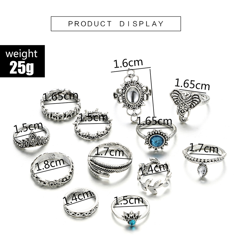 HuaTang Bohemian Antique Silver Ring Geometric Elephant Flower Green Rhinestone Knuckle Rings Midi Finger Anel Rings Jewelry 108