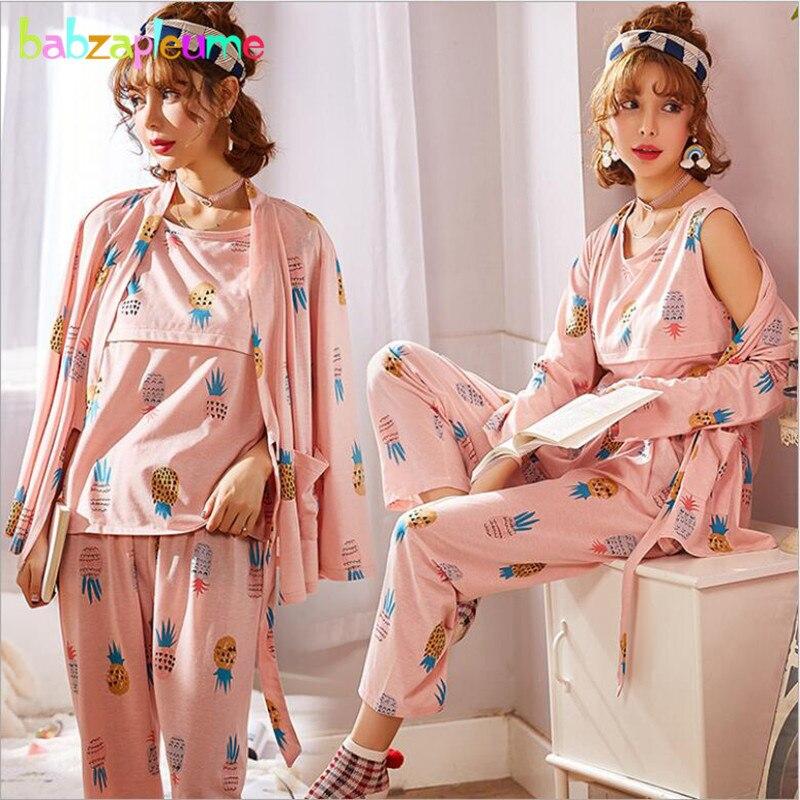 Babzapleume 3Piece Spring Fall Pregnant Nursing Pajamas Fashion Cotton Tops+t-shirt+pants Plus Size Maternity Sleepwear BC1437