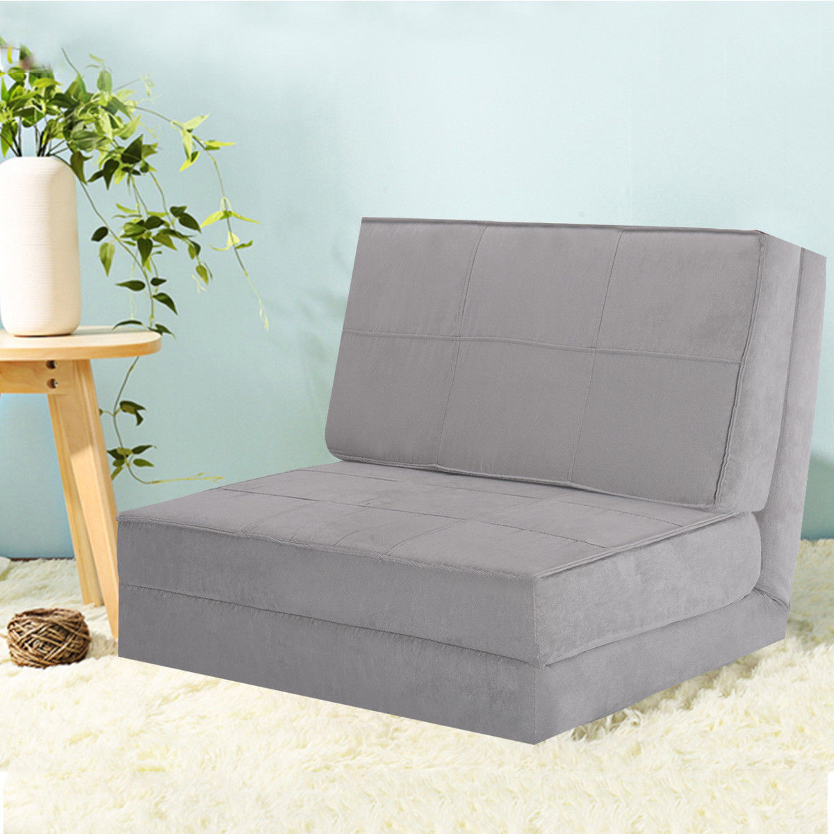 Costway Fold Down Chair Flip Out Lounger Convertible Sleeper Bed Couch Game Dorm Guest (Gray)