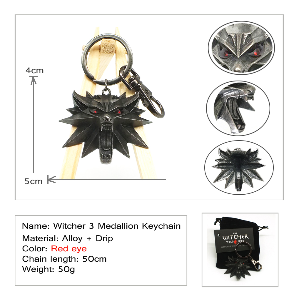 2018 The Witcher 3 Wild Hunt Medallion video game Keychain Key Ring The Wild Hunt 3 Figure Game Wolf Head Alloy Key Chains