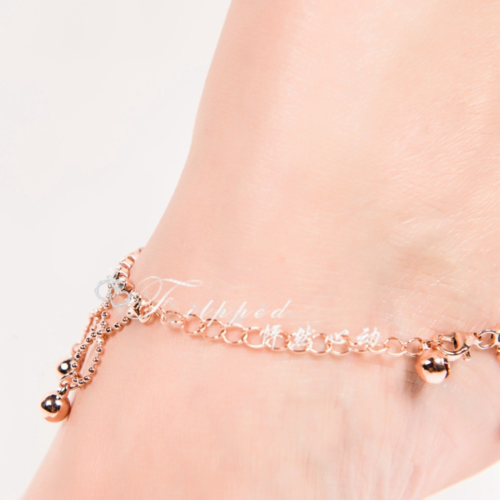 2017 New Y Foot Jewelry Anklet For Women Rose Gold Ankle Bracelet Bell Jangle Anklets Belly Dance Free Shipping Ak00050 In From