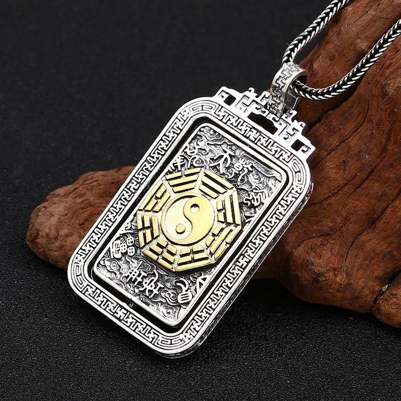 Rétro solide réel 925 argent Sterling collier vintage chanceux chinois rotation YIN YANG Tai chi collier pendentif pour hommes - 4