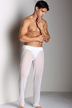 New men's easy mesh casual home wear pants transparent pajama bottoms sexy low-waisted youth net gauze