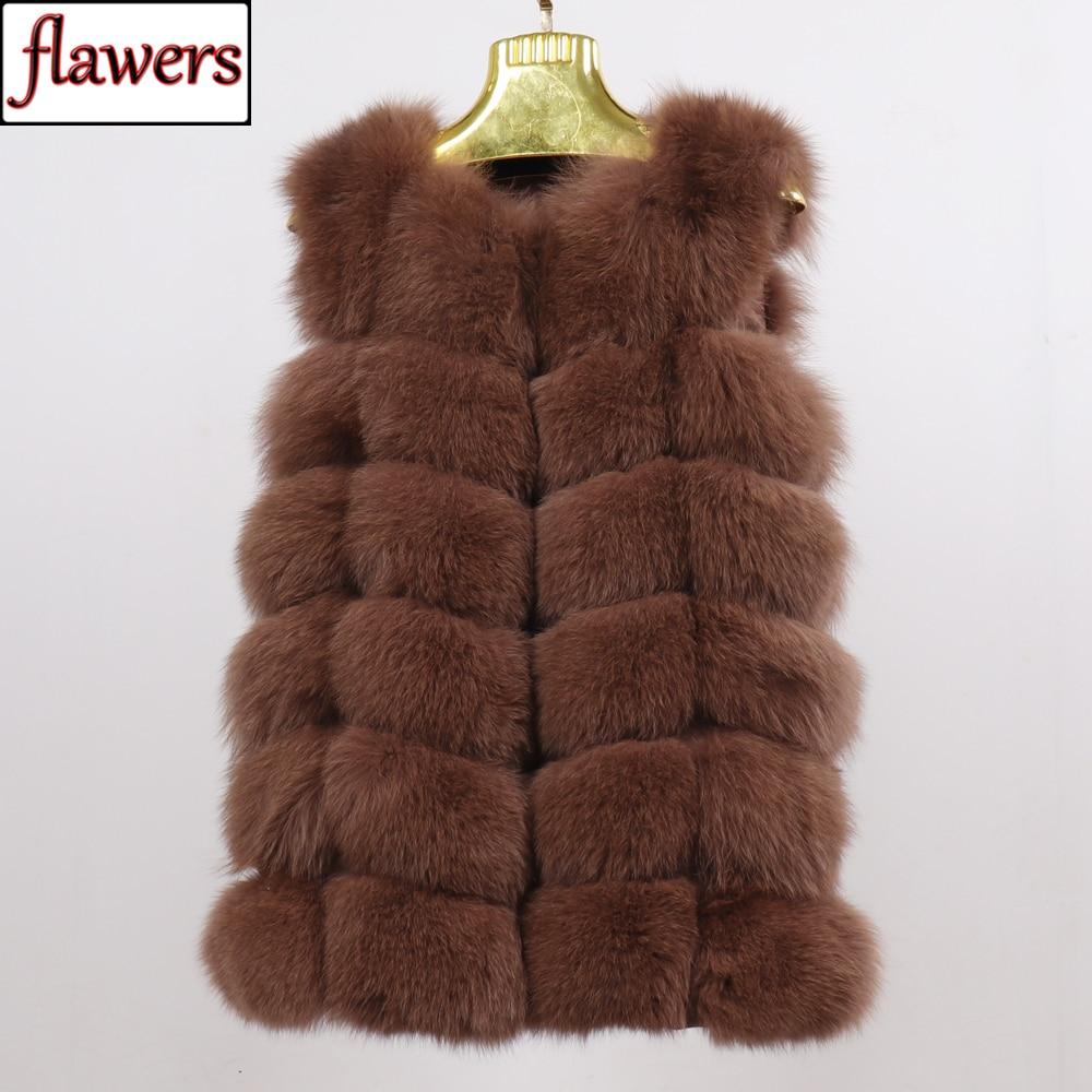 2019 Women Natural Real Fox Fur Vest Good Quality 100%Genuine Real Fox Fur Gilets Winter Thick Warm Fox Fur Long Sleeveless Coat
