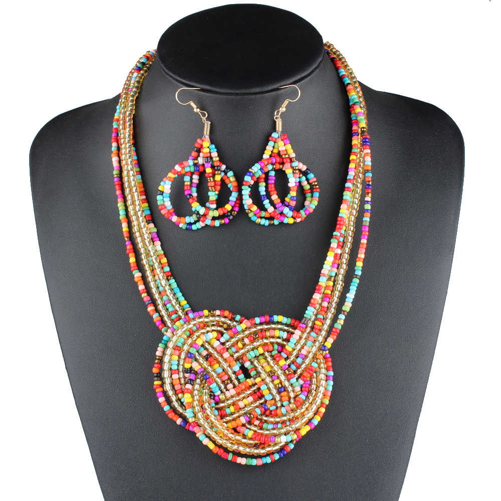 Claire Jin Bohemian Necklace and earings fashion jewelry sets Boho Bead Knot Earrings Necklaces Women Ethnique Collier bijoux