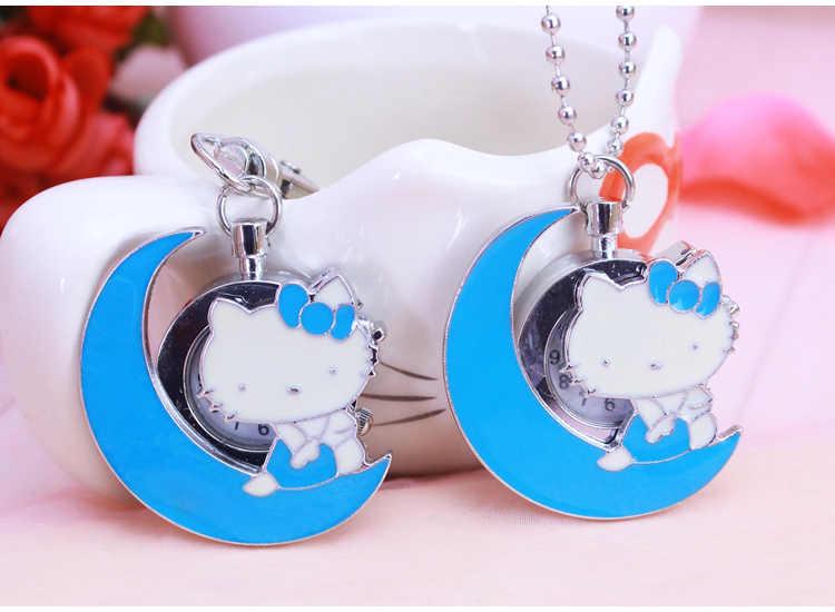 Novo relógio de bolso dos desenhos animados olá kitty desgin Mulheres homem da mala colar chaveiros corrente chave da cadeia de crianças vestido Ocasional Relojes