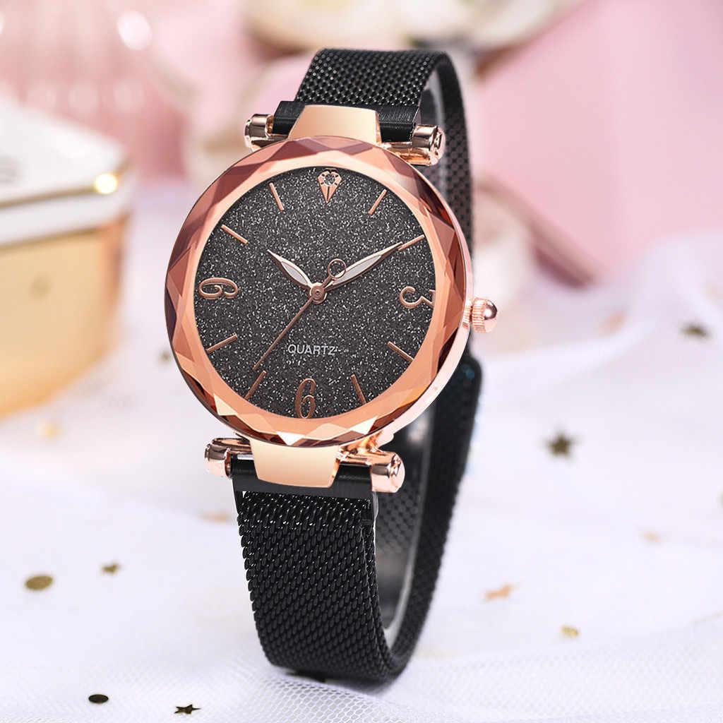 Moda prosty i prosty zegarek skala gwieździste niebo Dial Mesh z kwarcowy zegarek damski kobiety kryształ kwarcowy zegar na rękę # W3