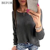 BEFORW Autumn Winter Comfortable Long Sleeves T Shirt Back Zipper Fashion T Shirt Women Personalise Womens