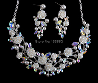 Korean Style Crystal AB Bridal Necklace Earrings Set Porcelain Flower Rhinestone Wedding Party Jewelry Set Free