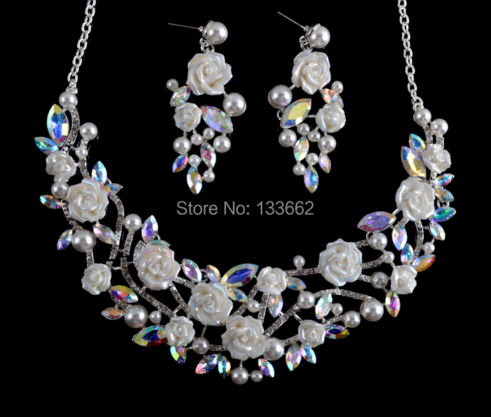 Korean style crystal AB bridal Necklace earrings set porcelain flower Rhinestone Wedding Party Jewelry set Free Shipping