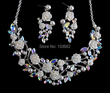 Korean style crystal AB bridal Necklace earrings set  porcelain flower Rhinestone Wedding Party Jewelry set  Free Shipping