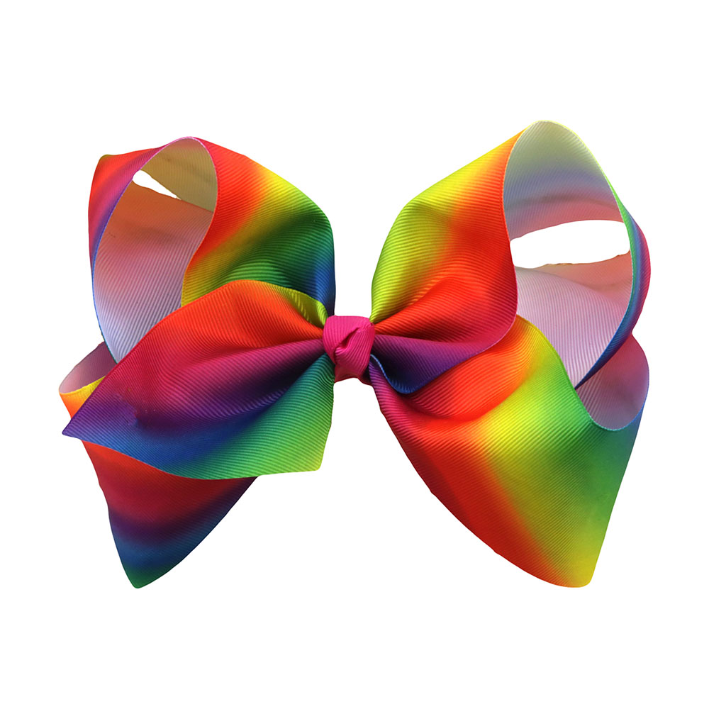 1pc 8 Inches New Design Fashion Handmade Boutique Rainbow Striped Sweet Hair Bow With Alligator Clip Kids Girls Hair Accessories