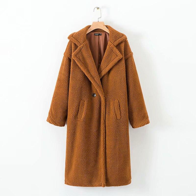 Hiver Femmes De Mode En Peluche En Cachemire Long manteau Solide Occasionnel Femelle De Laine caramel Manteaux Femmes Chaud Outwear manteau femme hiver