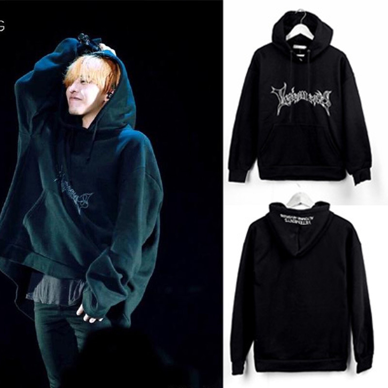 2017 GD we dont fall in love with the coat bigbang embroidery loose hooded fleece tide of men and women fashion size