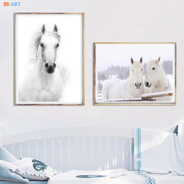 Framed Modern Canvas Painting White Horses Posters and Prints Animal ...