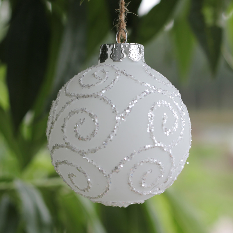 Dia8cm Event Party Wedding Glass balls Christmas ornament balls Glass Tree  pendant Frosted White balls Wholesale x 4 Freeship - Dia8cm Event Party Wedding Glass Balls Christmas Ornament Balls