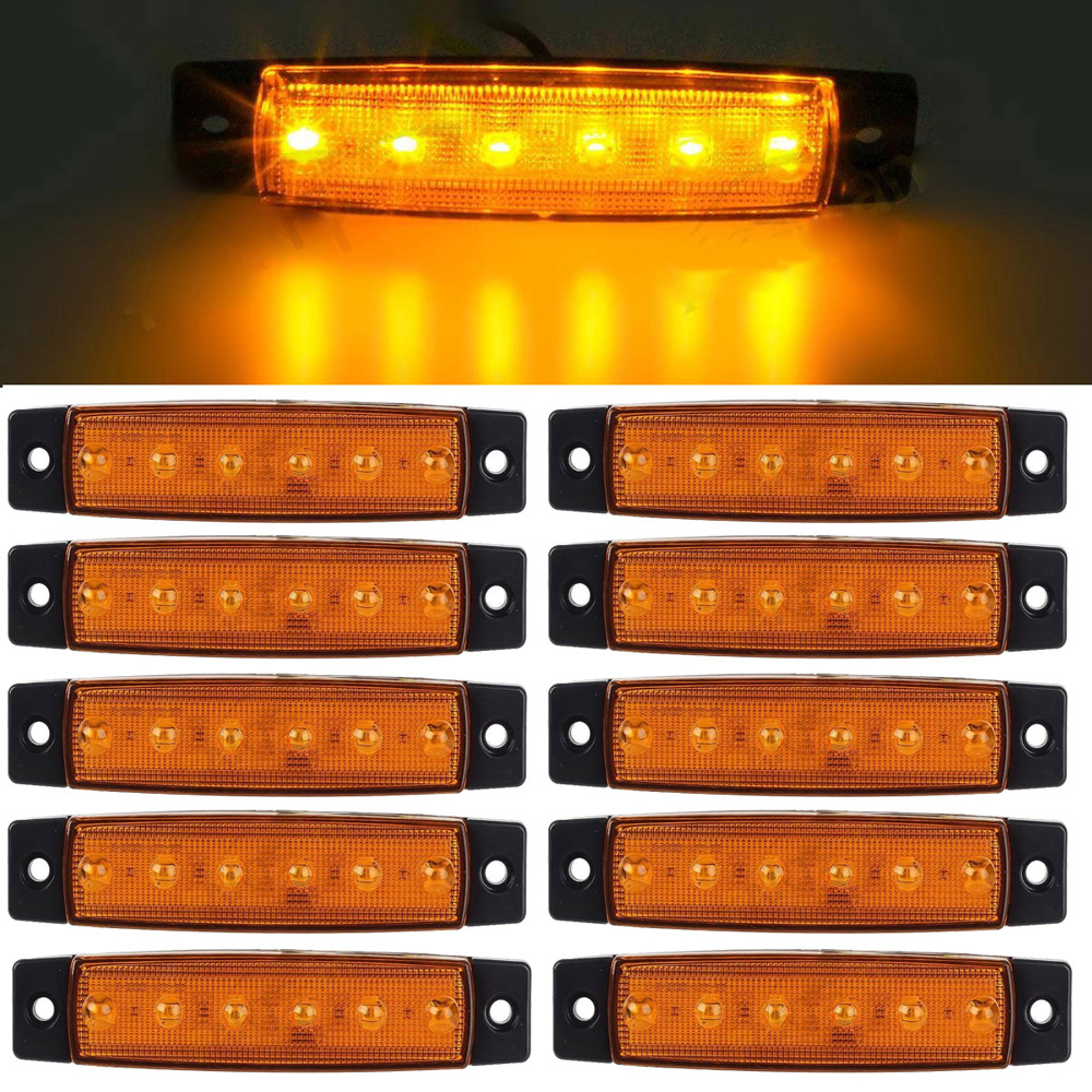 10pcs Yellow 12-24V 6 SMD LED Auto Car Bus Truck Lorry Side Marker Indicator low Led Trailer Light Rear Side Lamp 10pcs 6 led red white green blue yellow amber clearence car truck bus lorry trailer side marker indicators light lamp 12v 24v