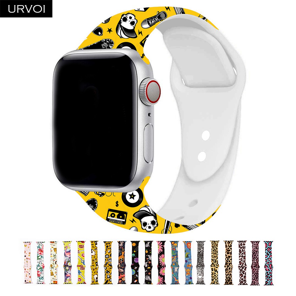 URVOI Silicone Strap For Apple Watch Sport Band For IWatch Apple Watch Series 4 3 2 1 Replacement Flamingo Leopard 40mm 44mm
