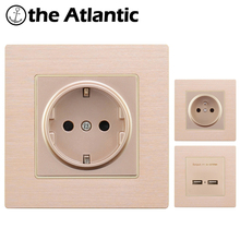 EU France Standard 16A Wall Socket Power Outlet Enchufe Aluminum Metal Panel Electrical Plug AC 110~250V Plug Electrical Outlet joho aluminum black silver panel eu standard pop up desktop table socket electrical outlet with customized port pc 158