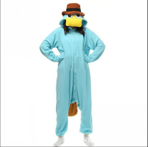 New platypus cartoon cosplay animal conjoined pajamas men and women couple home suit suit Christmas party