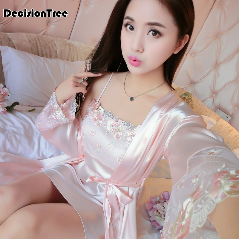 2019 new hot sexy lingerie satin lace kimono intimate sleepwear robe set sexy night gown women sexy underwear solid drop