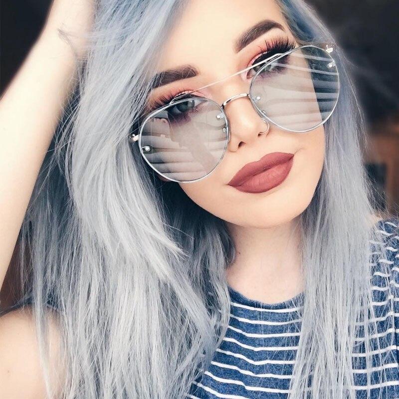 768c670663 Flat Top gafas de Sol de Las Mujeres 2017 de La Moda Coreana de Gran Tamaño  Gafas de Sol Para Mujer Sin Rebordes de la Lente Plana Mujeres de Tonos  Rosados ...