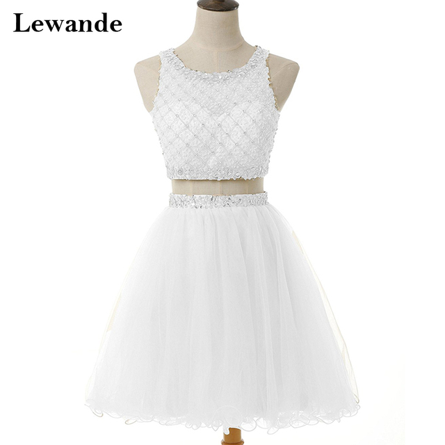 A Line Tulle Sparkly Beading White Graduation Dresses for Juniors ...