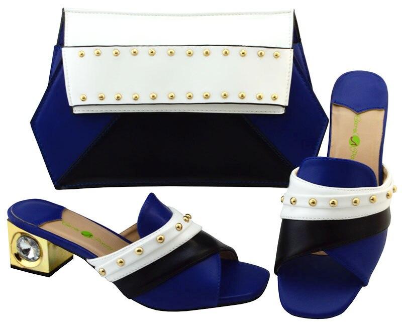 Популярные вечерние комплект без шнуровки обувь с сумочкой комплект для леди YM002, в Королевский синий цвет, высота каблука 5.8 см