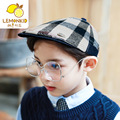 2017 Limited Unisex Beanie The New South Korean Children Fashion Handsome Boy Girl Beret Hat Personalized Baby Plaid Spring