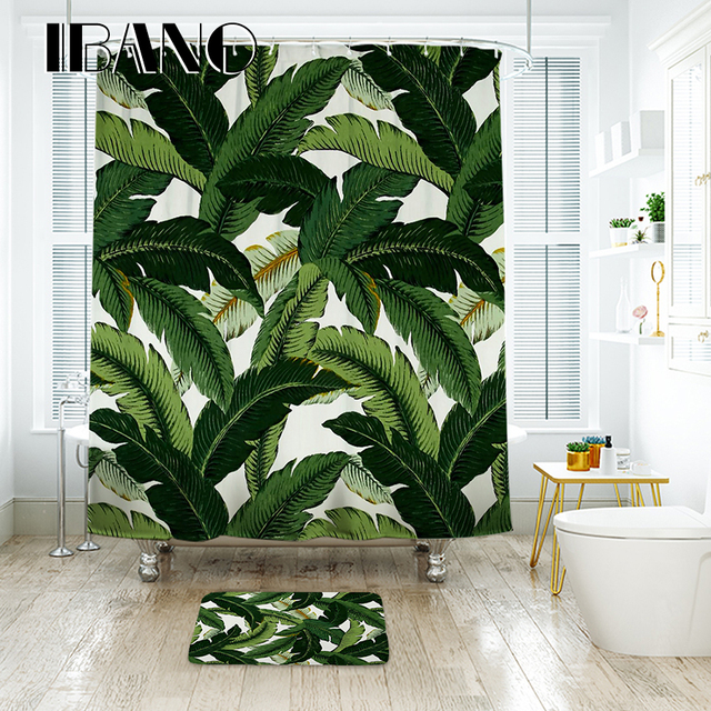 IBANO Banana Leaf Shower Curtain Waterproof Polyester Fabric Bath ...