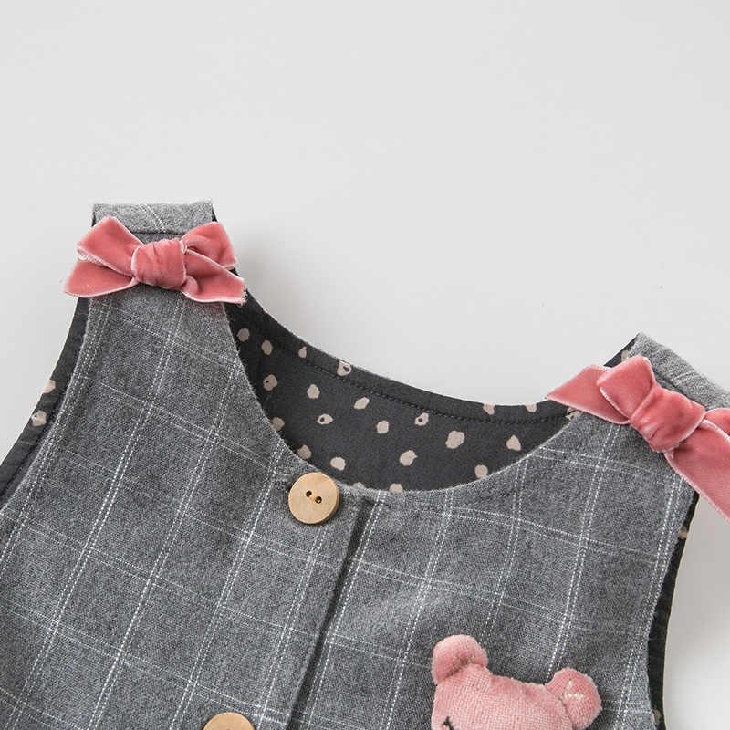 DBZ11397-2 Dave bella nieuwe geboren baby meisjes mode jumpsuits leuke plaid baby peuter kleding kinderen herfst romper 1 stuk