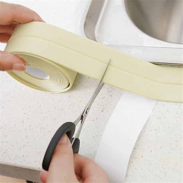 شريط لاصق جديد مقاوم للماء من مادة الكلوريد متعدد الفينيل لحوض الاستحمام شريط لاصق لحوض المطبخ شريط لاصق زاوية لاصقة شريط لاصق