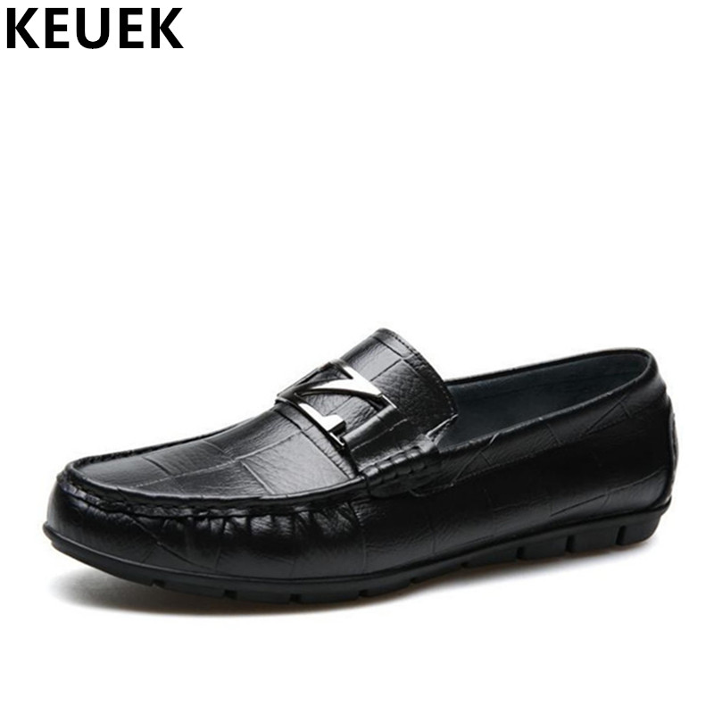 Men Casual leather shoes Soft outsole Genuine leather Loafers Male Slip-On Flats Fashion Boat shoes Youth Driving shoes 3A men s crocodile emboss leather penny loafers slip on boat shoes breathable driving shoes business casual velet loafers shoes men