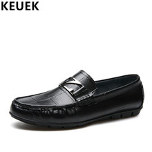 Men Casual leather shoes Soft outsole Genuine leather Loafers Male Slip-On Flats Fashion Boat shoes Youth Driving shoes 3A цена в Москве и Питере