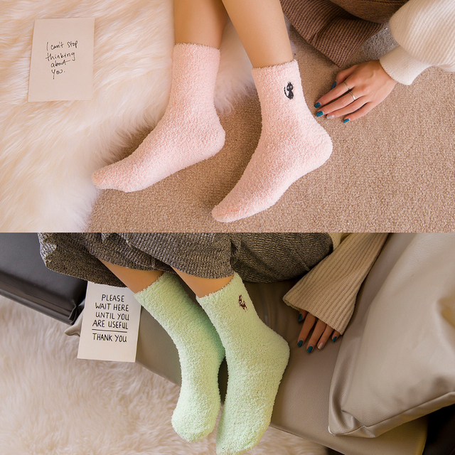 Embroidery CAT Deer Thicken women socks Lovely Plush Warm Sleep ladies girl Socks hosiery Winter Soft Home Accessories Sox Gifts