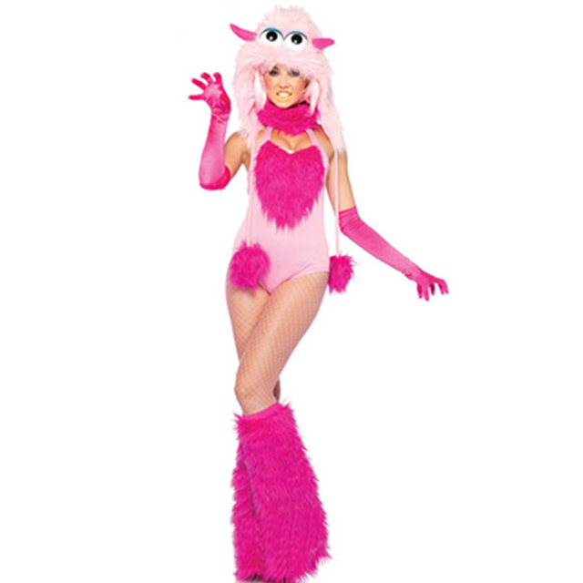 furry cotton candy teddy monster novelty halloween costume halloween cosplay girls animal fun clothes with hoodlegwarmer - Halloween Costume Monster