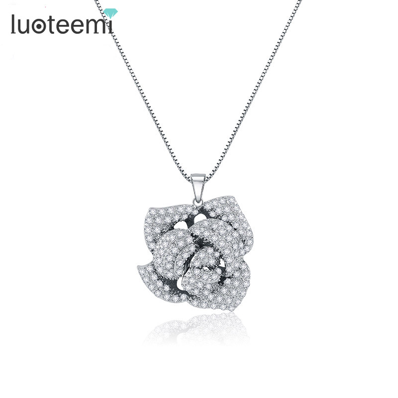 LUOTEEMI Hot Selling New Statement Rose Flower Pendant Necklace Noble Women Bright Clear CZ Crystal Bride Party Jewelry Gift