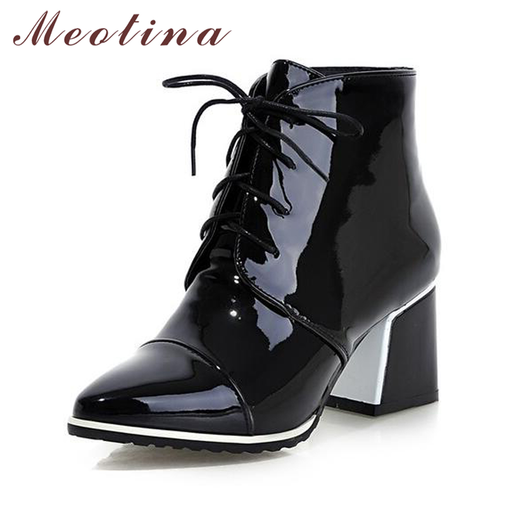 9f9d76d8538 Meotina Block High Heel Ankle Boots Women Fashion Lace Up Female Boots  Pointed Toe Winter Autumn Shoes Red Black White Size 9 43