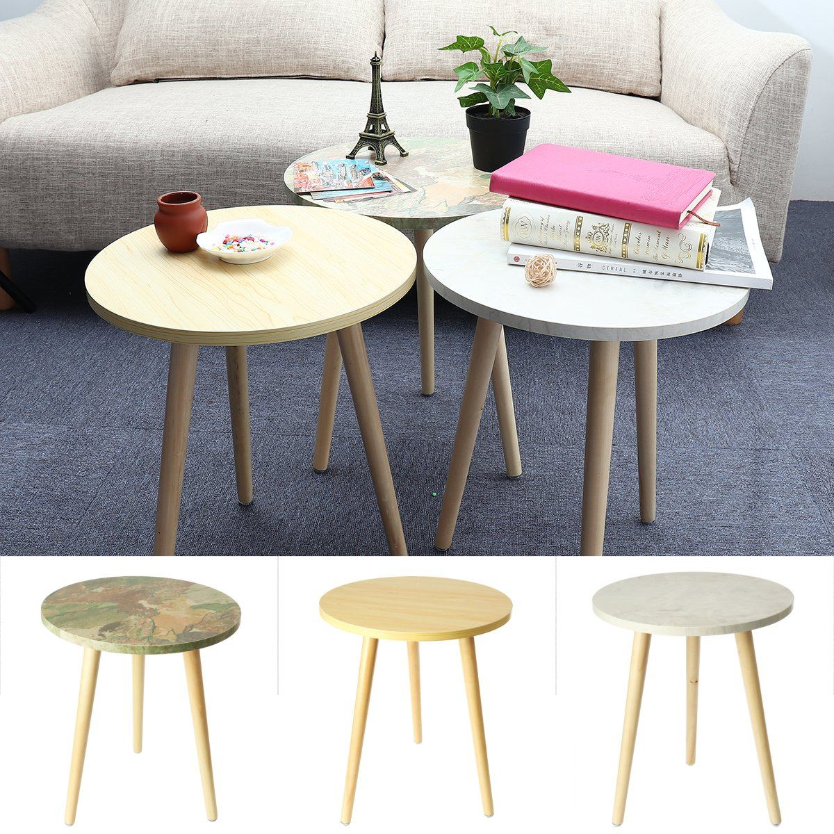 Fashion Coffee Tables Simple Mini Nordic Convenient Sofa Circular Practical Natural Tea Tables Living Room Decoration 3 Colors