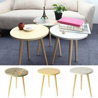 Fashion Coffee Tables Simple Mini Nordic Convenient Sofa Circular Practical Natural Tea Tables Living Room Decoration 3 Colors
