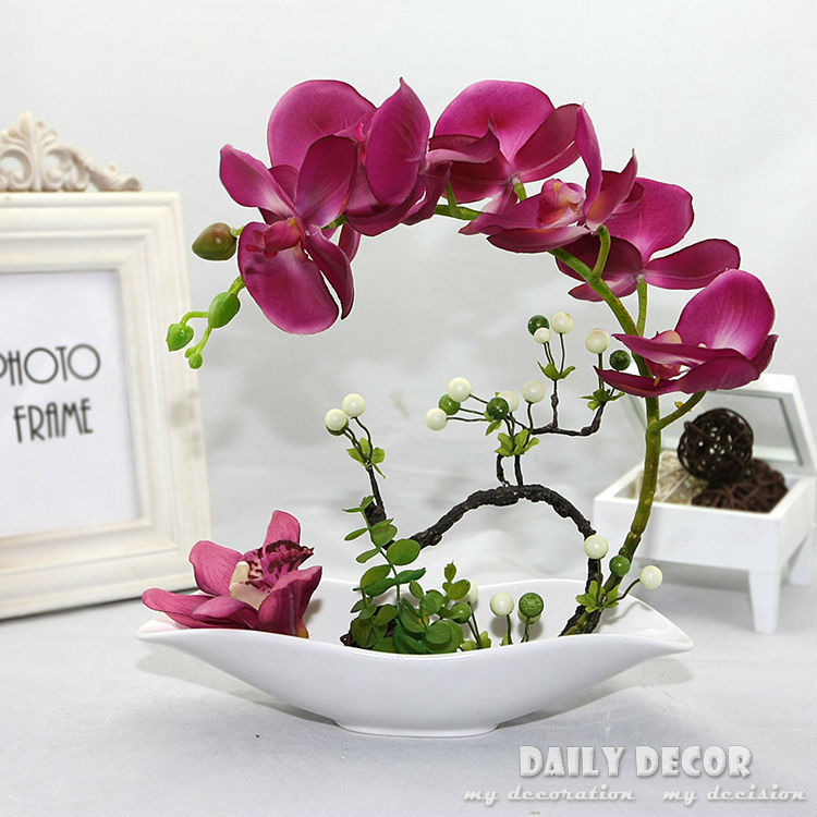 High Simulation Artificial Orchid Flowers Arrangements Decorative