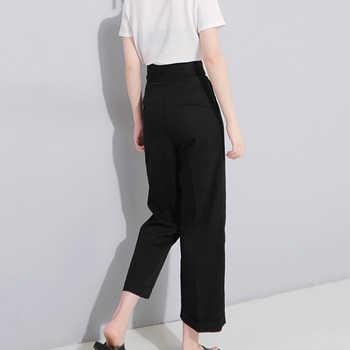 [EAM] 2019 Spring High Waist Lace Up Black Slim Temperament Tide Trend Fashion New Women\'s Wild Casual Wide Leg Pants LA462