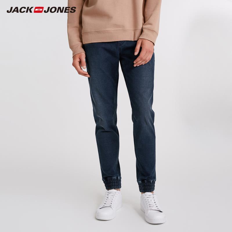 JackJones Men's Stretch Cotton Drawstring Casual Jeans 2019 Autumn Winter Classic Trousers Denim Pants Male J|218332548