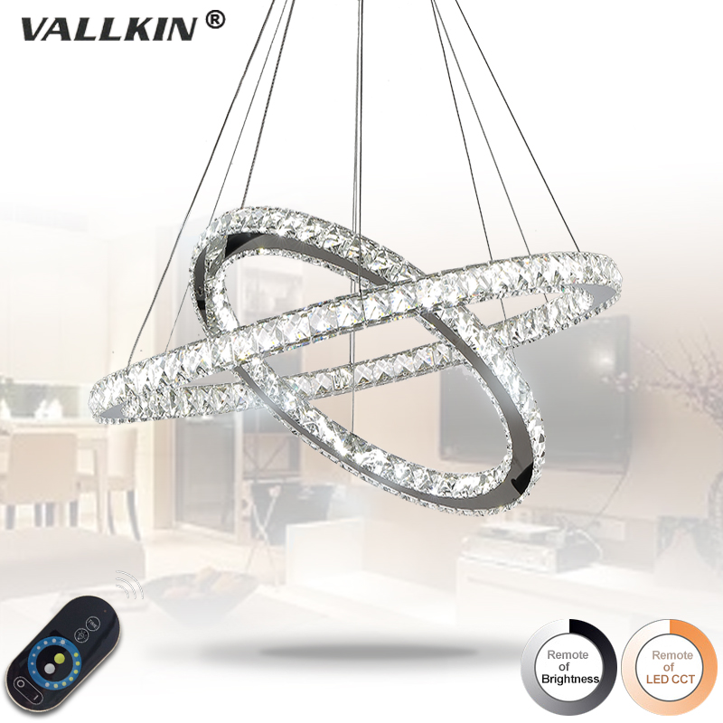 Dimmable Diamond 2 Rings LED Crystal Pendant Light Modern LED Lighting Circles Lamp Silver Steel Hanging