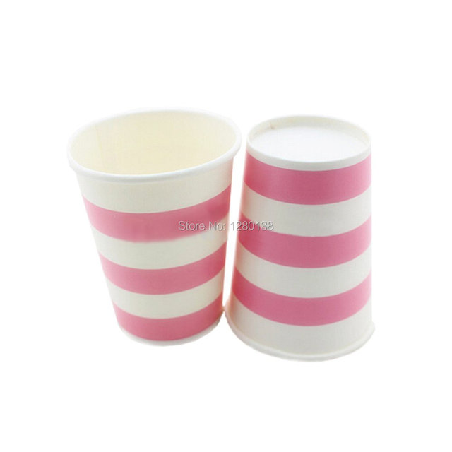 2160pcs Striped Disposable Paper Coffee Cups Drinking Kids Favor Party Wedding Decoration Tableware Free Shipping