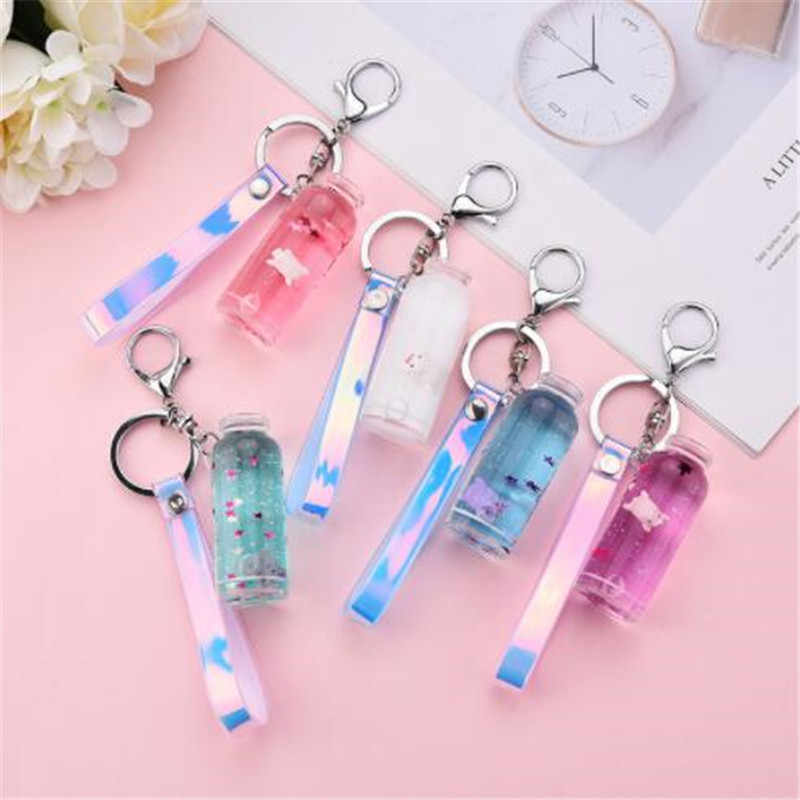 WKOUD Creative cute pig sequins acrylic Keychain Moving Liquid oil Drop decompression drift bottle Jewelry Best Gift