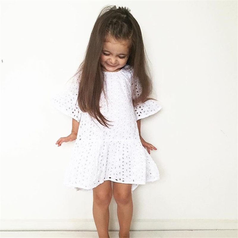 Baby Favorite 2018 Fashion Boutique Baby Girl White Lace Dress Infant Children's Clothes Flare Sleeve Toddler Wedding Dress SC64 цена и фото