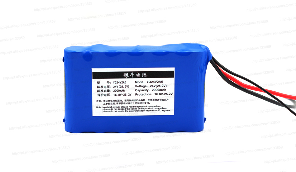 24 V 2000 mAh lithium batterie adapté pour les petits moteurs/LED matériel d'éclairage 25.2 V 2AH Rechargeable batteries