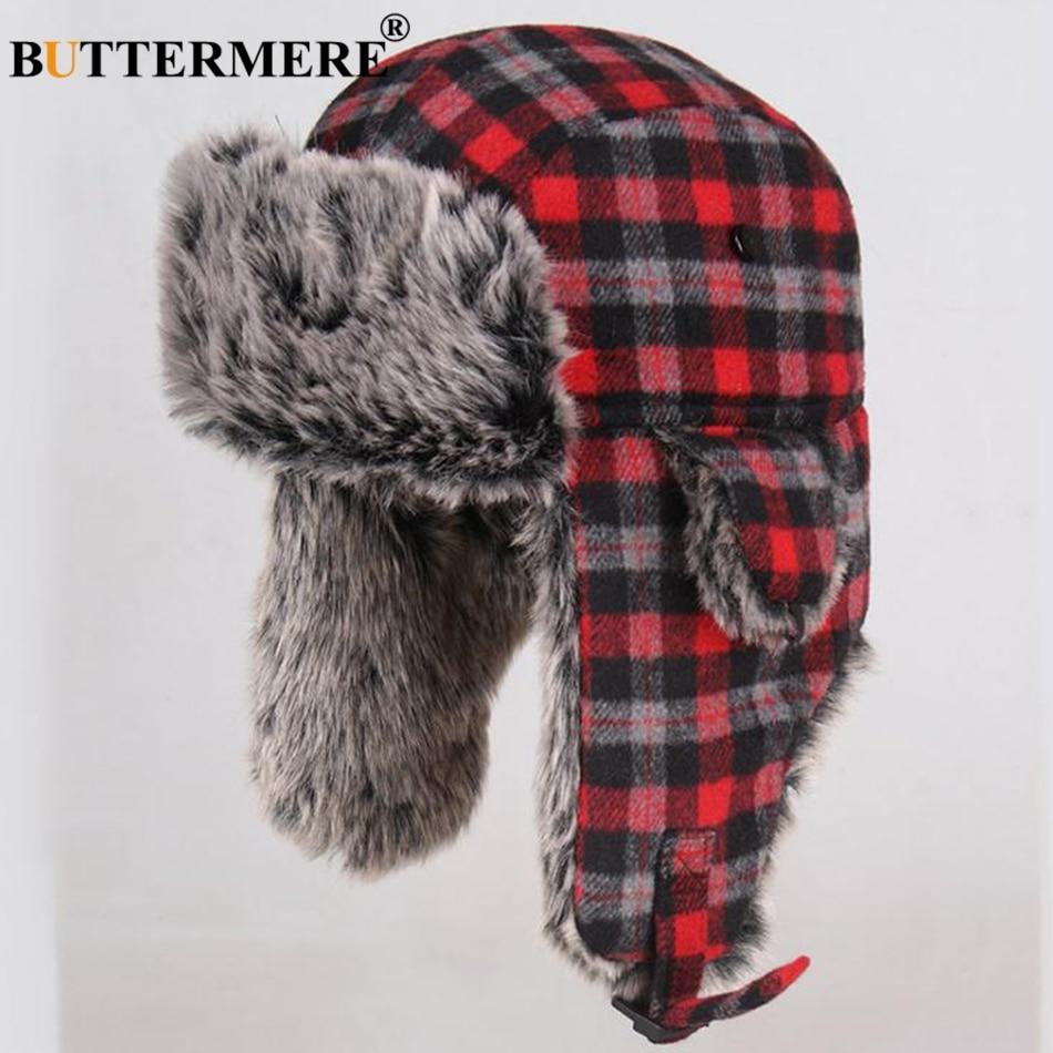 5f70a964fc7ba0 BUTTERMERE Trapper Hat Russian Ushanka Hats Winter Bomber Fur Thick Warm  Knitting Beanies Navy Fashion Navy Female Ear Flaps CapUSD 15.13/piece