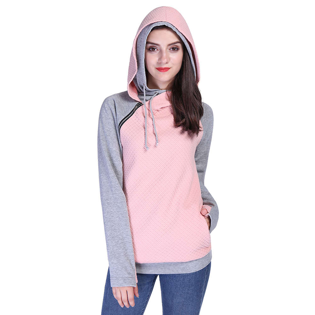 2017 Womens Fashion Knitted Sweatshirts Ladies Hooded Candy Colors Patchwork Sweatshirt Long Sleeve Zip Up Clothing Sudaderas